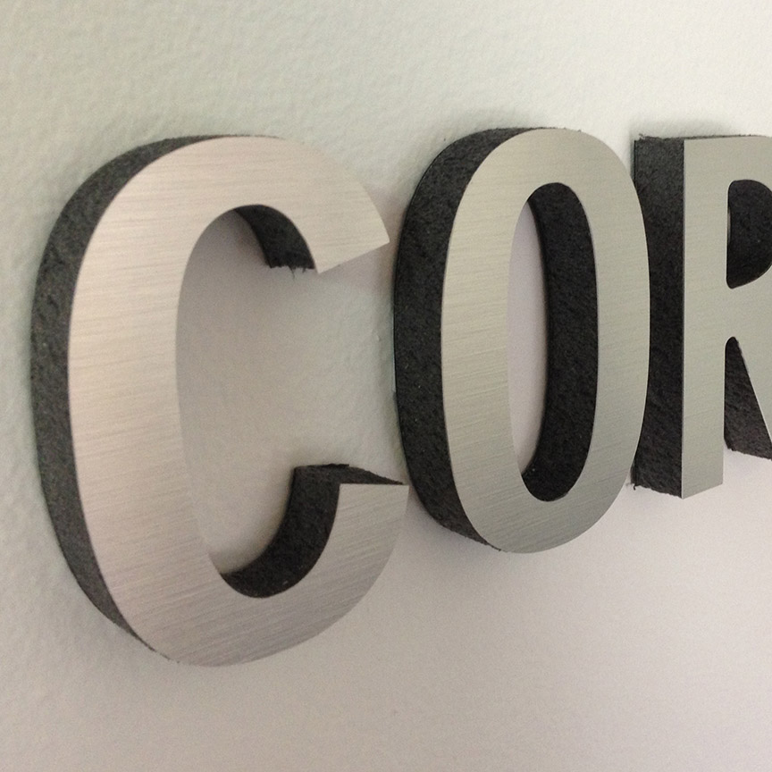 brushed metal sign - miami signs