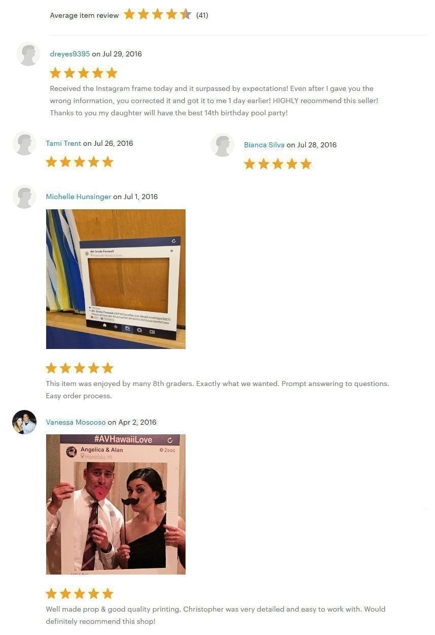 etsy instagram frame reviews
