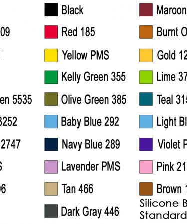 silicone swatch standard colors new