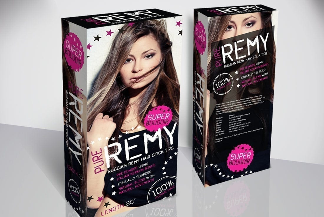 russian remy hair packaging design