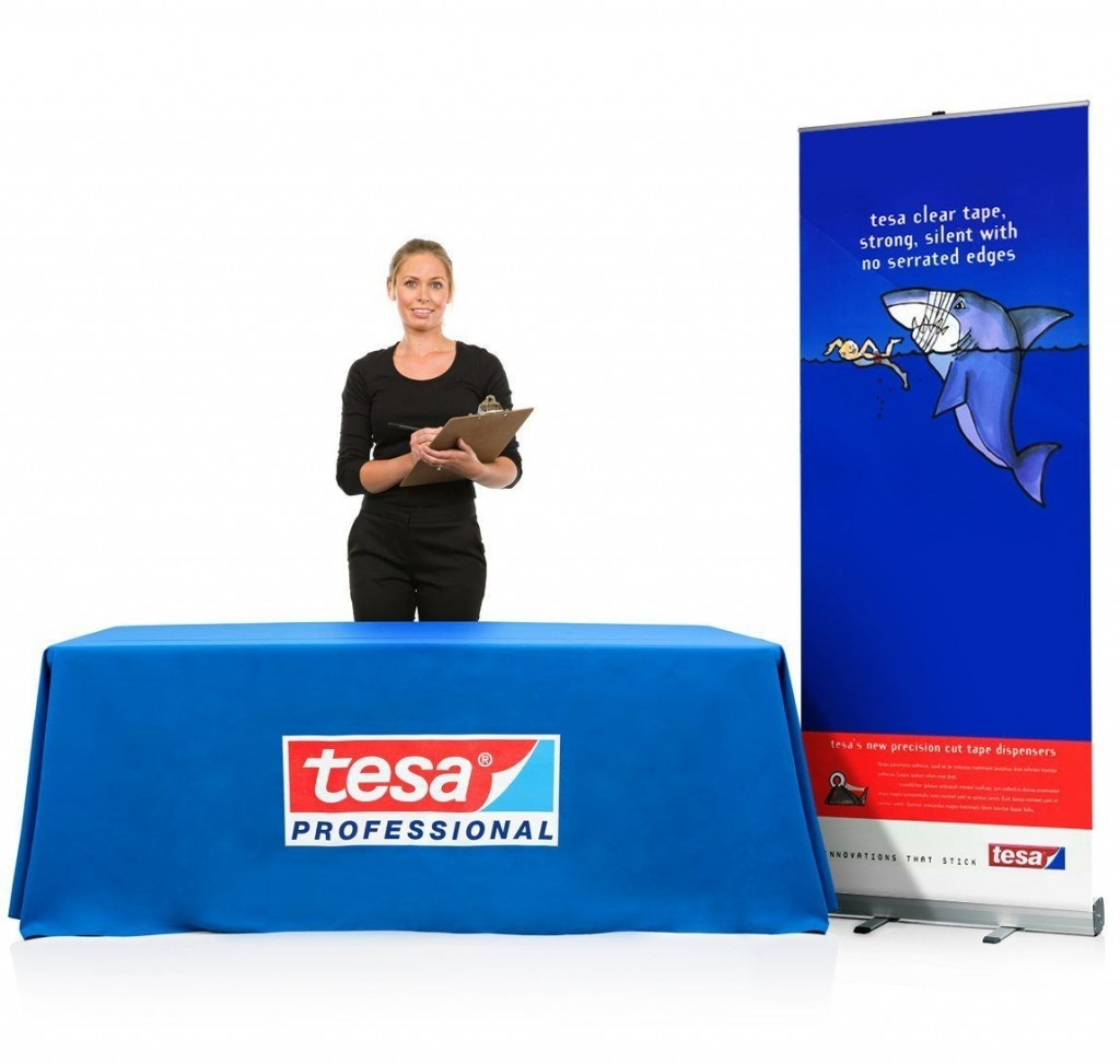 custom imprinted table covers and expo displays