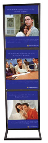 Triple rectangular base metal double sided display